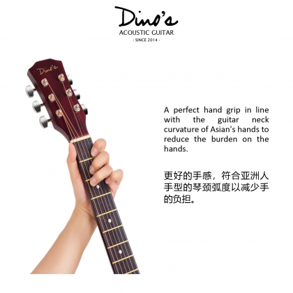 DINOS AG-38 38'' Acoustic Guitar With Mat Finishing (Package) (AG38)