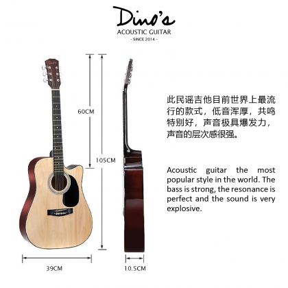 DINOS AG-41 41'' Full Size Acoustic Guitar With Mat Finishing (Package) (AG41)