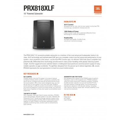 "JBL PRX-818XLFW 18"" Self-Powered Extended Low Frequency Subwoofer with Wi-Fi (1500W) (PRX818XLFW)"