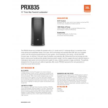 "JBL PRX-835W 15"" 3-Way Full-Range Loudspeaker with Wi-Fi (1500W) (PRX835W)"