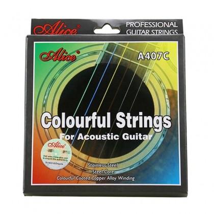 ALICE A-407C Colourful Acoustic Guitar String (Set) (A407C)